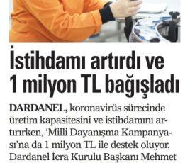İstihdamı artırdı ve 1 milyon TL bağışladı.